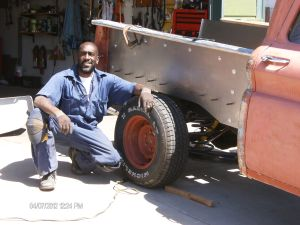 Howard helping a Friend / neighbor repair a truck-bed on a 1965 Chevy Spring 2012