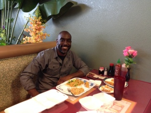 Howard Eating Lunch As Celebration After Appying For PassPort  5 Sept. 2014 photo 3